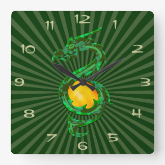 Año chino del verde de jade del dragón reloj cuadrado