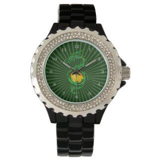 Año chino del verde de jade del dragón reloj de mano