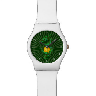 Año chino del verde de jade del dragón relojes de pulsera