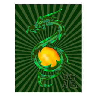 Año chino del verde de jade del dragón postales