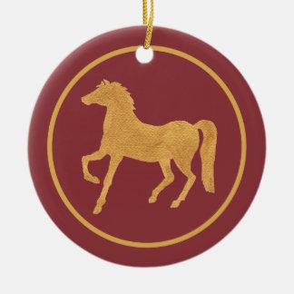 Año chino elegante del ornamento del caballo adorno navideño redondo de cerámica