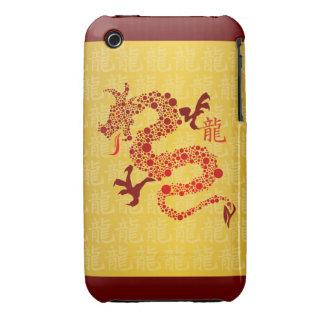 Año chino rojo del dragón iPhone 3 Case-Mate carcasas