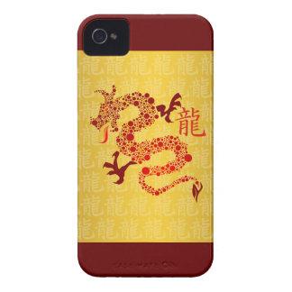 Año chino rojo del dragón iPhone 4 cobertura