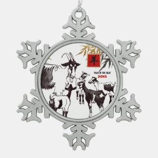 Año de 2015 chinos de los ornamentos de la adorno de peltre en forma de copo de nieve