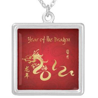 Año de la caligrafía 2012 del oro del dragón colgante personalizado