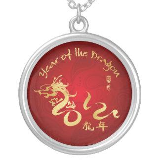 Año de la caligrafía 2012 del oro del dragón joyeria