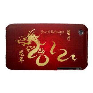 Año de la caligrafía 2012 del oro del dragón iPhone 3 carcasas
