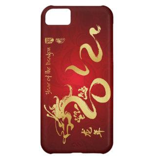 Año de la caligrafía 2012 del oro del dragón funda para iPhone 5C
