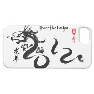 Año de la caligrafía negra del dragón 2012 iPhone 5 funda