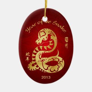Año de la serpiente 2013 - Año Nuevo chino Adorno Navideño Ovalado De Cerámica