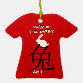 Año del Año Nuevo chino 2011 del conejo Adorno De Cerámica En Forma De Camiseta
