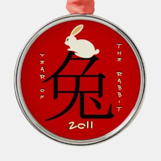 Año del Año Nuevo chino 2011 del conejo Adorno Navideño Redondo De Metal