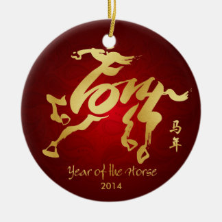 Año del caballo 2014 - Año Nuevo chino Adorno Redondo De Cerámica