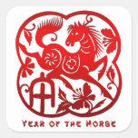 Año del caballo Papercut Calcomanías Cuadradas