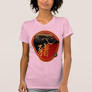 Año del camisetas Cerdo-Negro del óvalo del