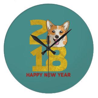 Año del Corgi del reloj del Año Nuevo del perro