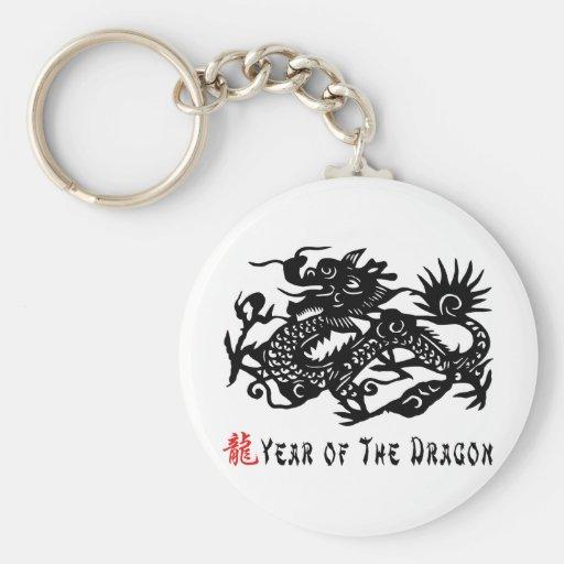 Año del corte del papel del dragón llaveros personalizados