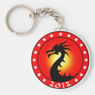 Año del dragón 2012 llavero redondo tipo chapa