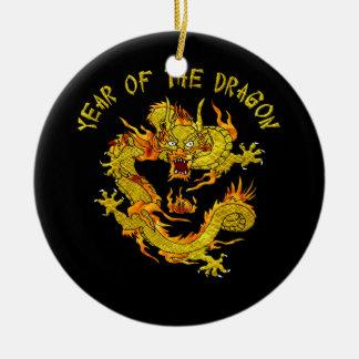 Año del dragón - 2 adorno navideño redondo de cerámica