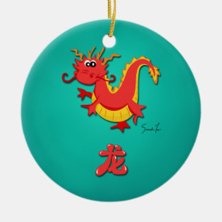 Año del dragón adorno navideño redondo de cerámica