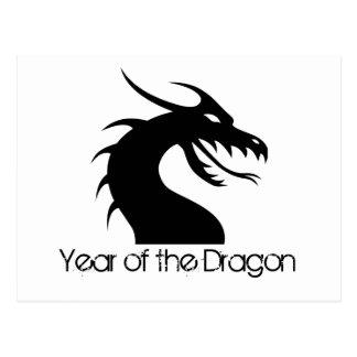Año del dragón - cabeza del dragón postal