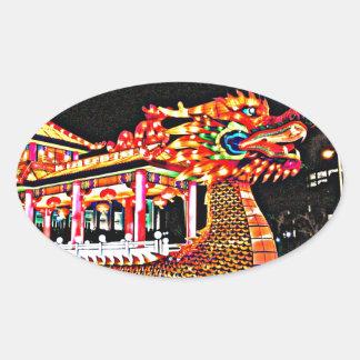 Año del dragón en San Francisco Calcomania Ovaladas Personalizadas