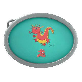 Año del dragón hebilla de cinturon oval
