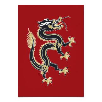 Año del dragón invitación 12,7 x 17,8 cm