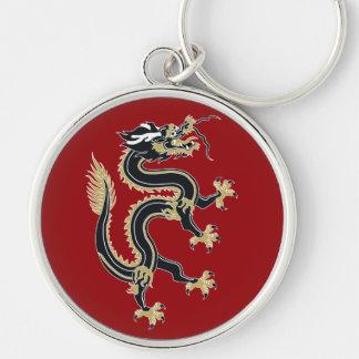 Año del dragón llavero redondo plateado