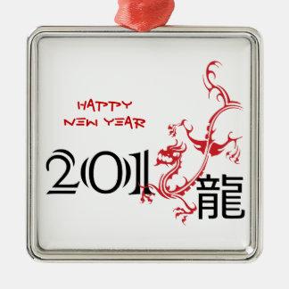 Año del dragón, ornamento chino del Año Nuevo 2012 Adorno Navideño Cuadrado De Metal