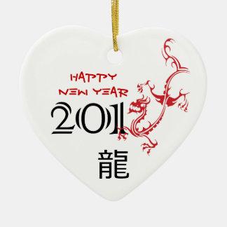 Año del dragón, ornamento chino del Año Nuevo 2012 Adorno Navideño De Cerámica En Forma De Corazón