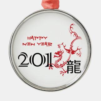 Año del dragón, ornamento chino del Año Nuevo 2012 Adorno Navideño Redondo De Metal