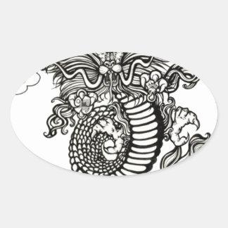 Año del dragón pegatina de ovaladas