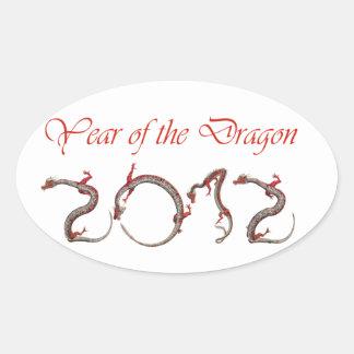 año del dragón colcomanias de oval personalizadas