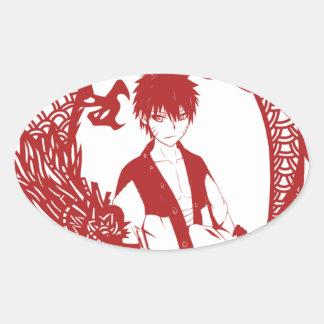 Año del dragón pegatinas de oval personalizadas