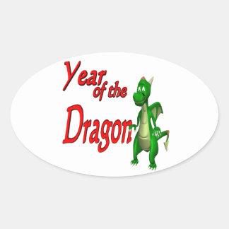 Año del dragón colcomanias de ovaladas