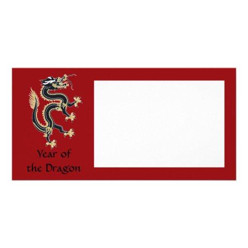 Año del dragón plantilla para tarjeta de foto