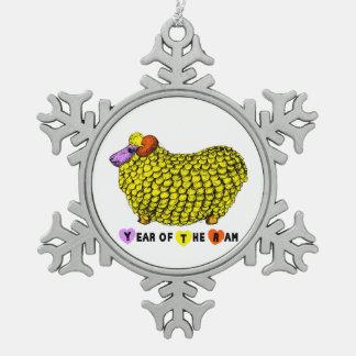 año del espolón adorno de peltre en forma de copo de nieve