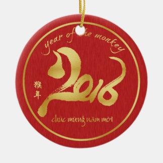 Año del mono 2016 - Año Nuevo Tet de Veitnamese Adorno Navideño Redondo De Cerámica