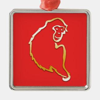Año del mono (zodiaco chino) adorno navideño cuadrado de metal