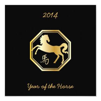 Año del octágono del caballo invitación 13,3 cm x 13,3cm