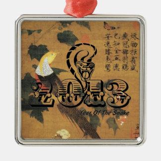 Año del ornamento de la serpiente 2013 adorno navideño cuadrado de metal