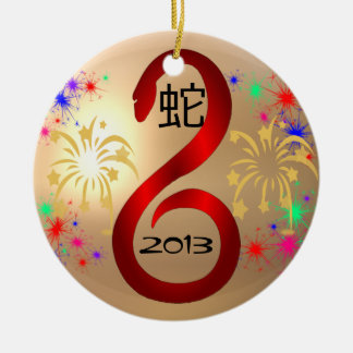 Año del ornamento de la serpiente 2013 adorno navideño redondo de cerámica