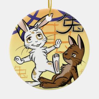 Año del ornamento del conejo adorno de navidad