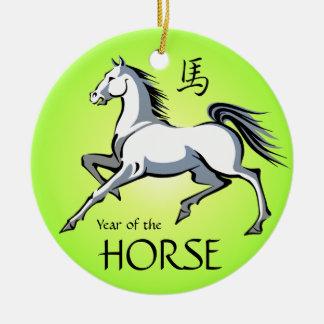 Año del ornamento del verde del caballo blanco del adorno navideño redondo de cerámica