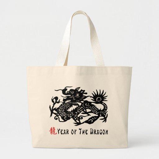 Año del regalo del corte del papel del dragón bolsa