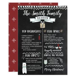 Año en pizarra de la tarjeta de Navidad del