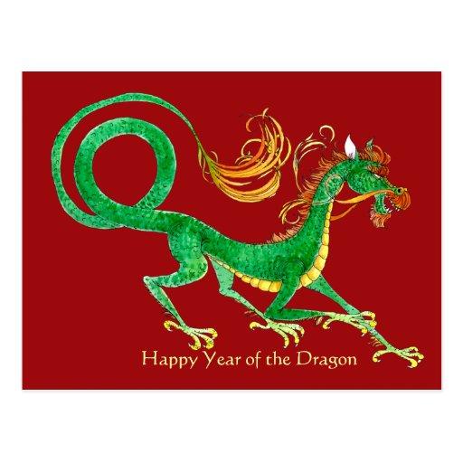 Año feliz de la postal del dragón