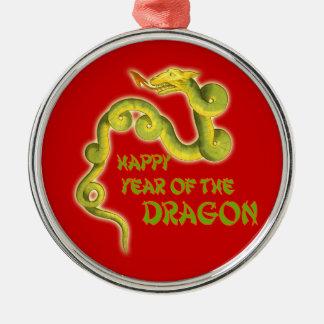 Año feliz de los regalos del dragón adorno navideño redondo de metal