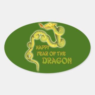 Año feliz de los regalos del dragón pegatina ovalada